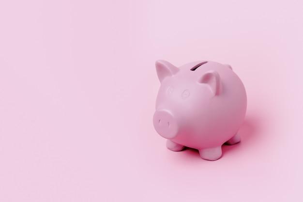 분홍색 배경에 격리된 분홍색 돼지 저금통, 안전하고 재정적인