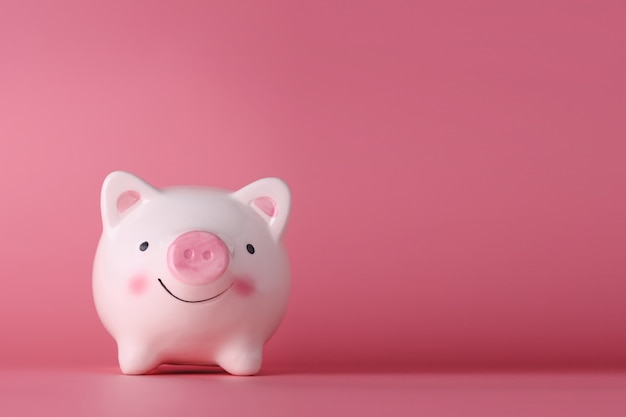 Pink piggy bank on isolated on pink