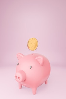 Pink piggy bank and many golden coins tower on pastels background.3d model and illustration.