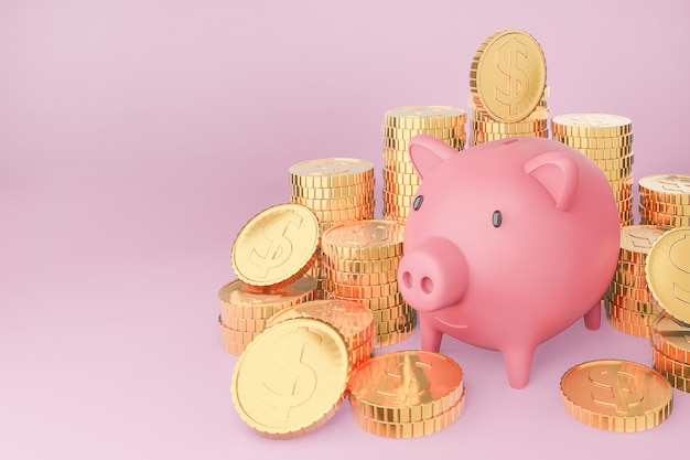 Pink piggy bank and many golden coins tower on pastels background