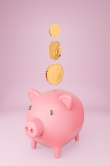 Pink piggy bank and many golden coins tower