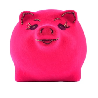 흰색 바탕에 핑크 돼지 저금통