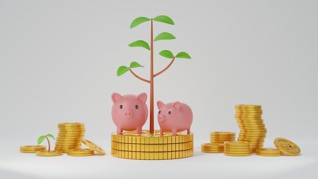 Розовая копилка на стеке золотых монет с растущим растением из монет на белом фоне