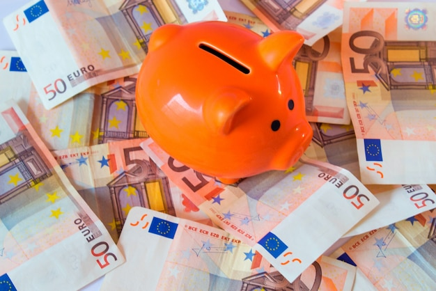 ピンクの貯金箱、お金、ユーロ紙幣