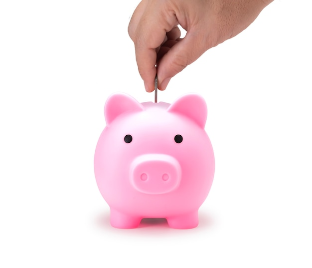 Pink piggy bank for save coin isolate with clip path for di cut. front view of pig doll for saving money realistic photo image on white background.