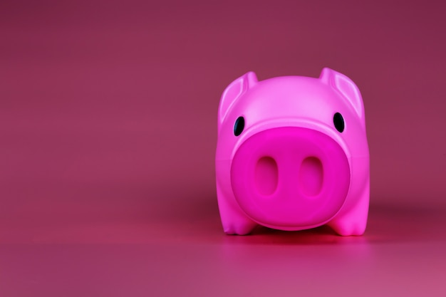 Pink piggy bank save coin, piggy pink bank with growth coins which means growth business success concept.
