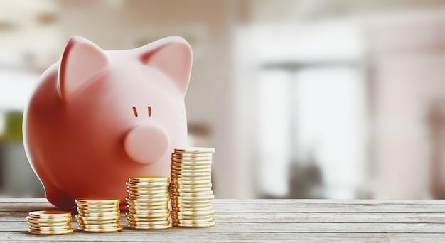 ピンクの貯金箱、貯金の概念。 3dレンダリングのイラスト