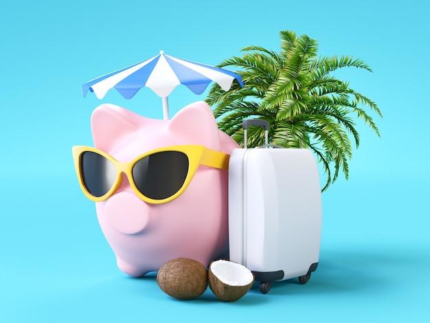 핑크 돼지 저금통, 저축 개념. 3d 렌더링 그림