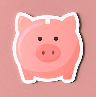 Pink piggy bank savings icon