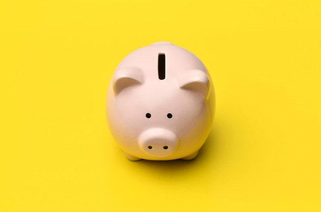 Pink piggy bank stands in the center on a yellow background.