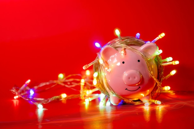 Pink piggy bank with christmas string lights