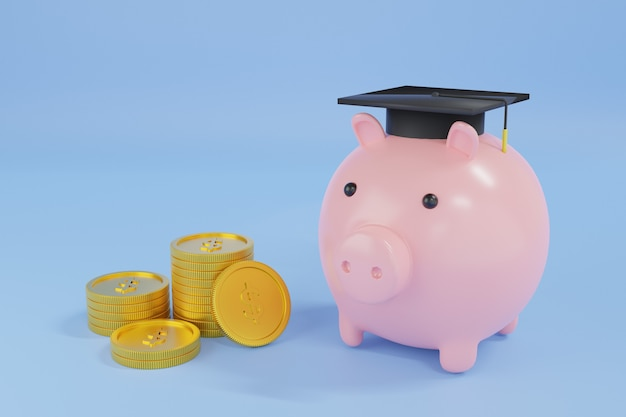 Pink piggy bank with coins. money saving for education concept. 3d rendering illustration.