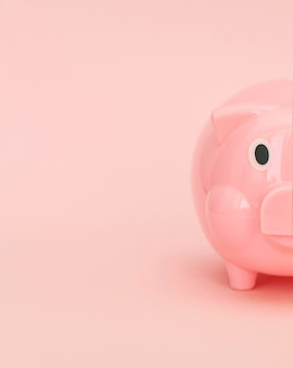 Pink piggy bank with copy space
