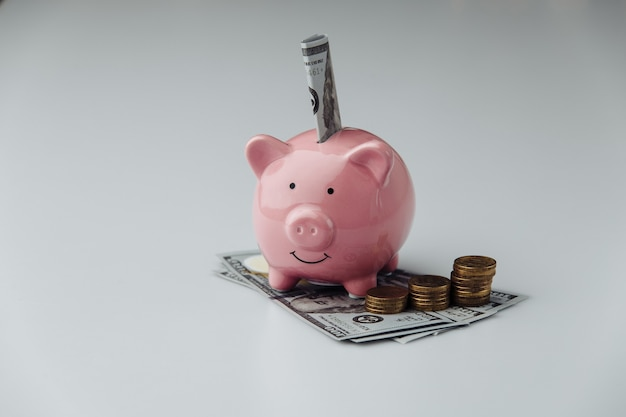 Pink piggy bank with dollar banknotes and coins. finance and saving money concept