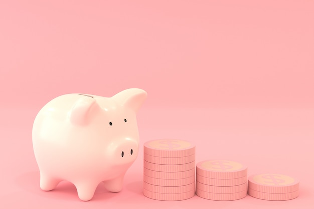 Pink piggy bank with dollar coins on pink color, saving money concept with 3d rendering