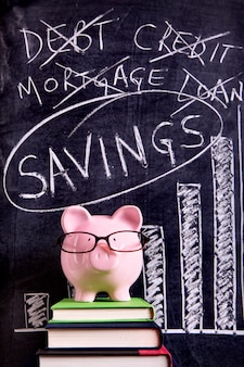 Pink piggy bank with glasses standing on books next to a blackboard with savings message.