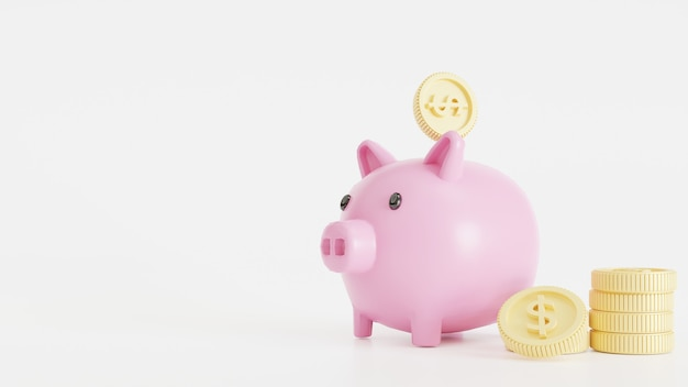 Pink piggy bank with gold coins on a white background, saving money wealth and financial and start saving concept, 3d rendering illustration