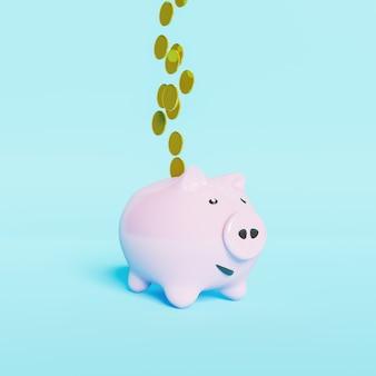 金色のコインと幸せそうな顔のピンクの貯金箱3dレンダリング