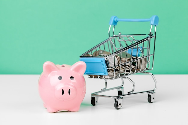 Pink piggy bank with shopping cart