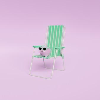 Розовая копилка с солнцезащитными очками на шезлонге с простой пастельной стеной. концепция сбережений летних каникул. минимальный. 3d визуализация
