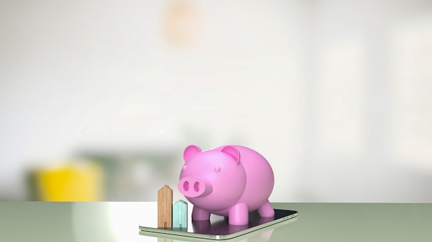 The pink piggy bank and wood home on tablet for  property business concept 3d rendering