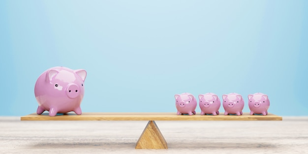 Pink piggy banks balancing on seesaw 3d illustration