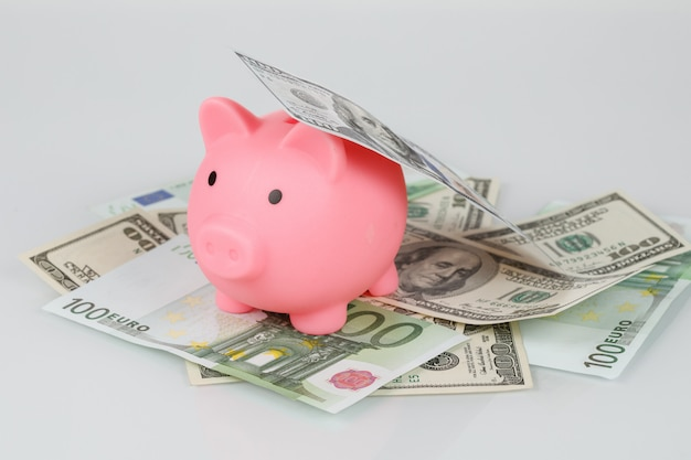 ドルとユーロの紙幣の山の上のピンクの貯金箱