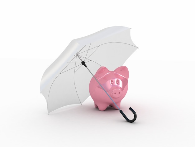 Pink piggy under umbrella. 3d illustration