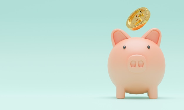 Pink piggy with golden coins dropping for creative financial saving and deposit concept with copy space , 3d render.