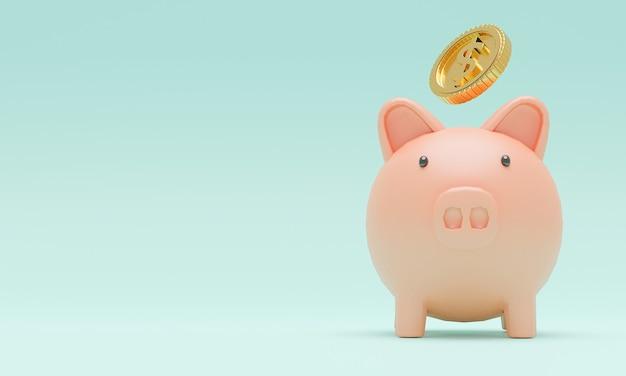 창조적 인 재정 절약 및 예금 개념을 위해 황금 동전이 떨어지는 분홍색 돼지, 복사 공간, 3d 렌더.