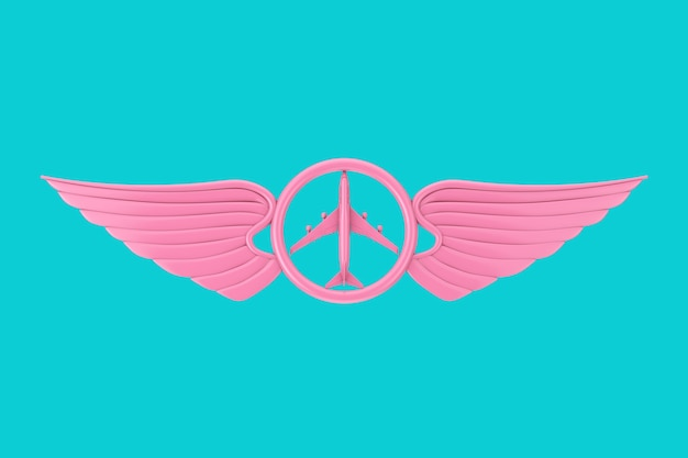Pink pilot wing emblem, badge or logo symbol in duotone style on a blue background. 3d rendering