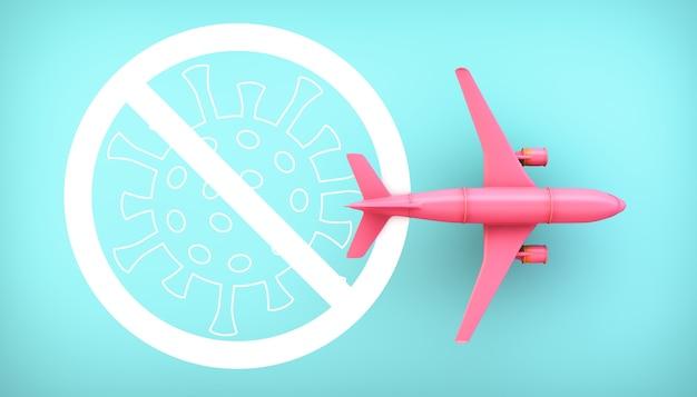Розовый самолет с предупреждением о коронавирусе 2019-ncov на синем фоне 3d-рендеринга