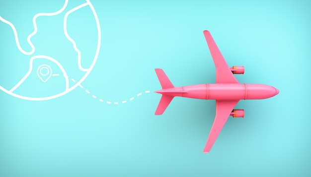 Pink plane with a route illustration 3d rendering
