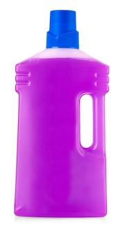 흰색 배경에 분리된 손잡이와 액체 세탁 세제, 세제, 표백제 또는 섬유 유연제가 있는 분홍색 플라스틱 병
