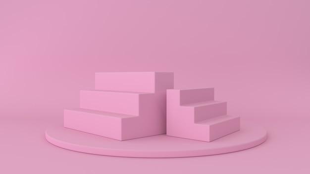 Розовая платформа и ступеньки изолированы