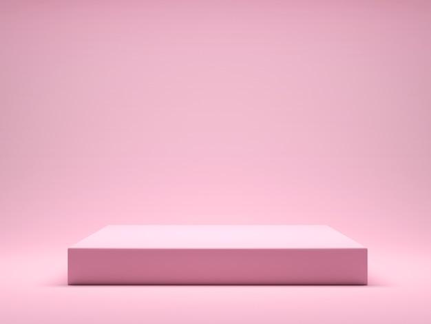 제품 디스플레이 인테리어 연단 장소를위한 핑크 플랫폼. 핑크 파스텔 배경에 제품 디자인을 홍보하십시오. 3d 렌더링