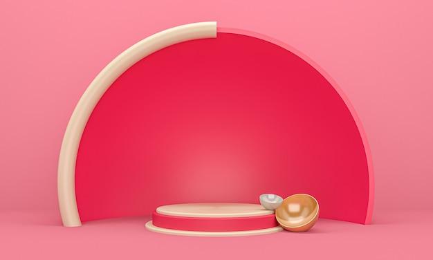 제품 프리미엄 사진, 추상적 인 3d 구성을 보여주는 핑크 플랫폼