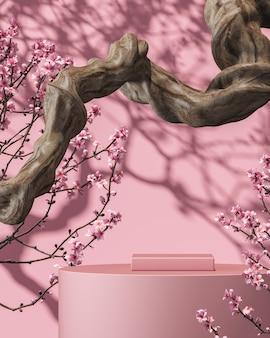 분기에 분홍색 플랫폼과 벽에 사쿠라 나무 배경 차양 그림자