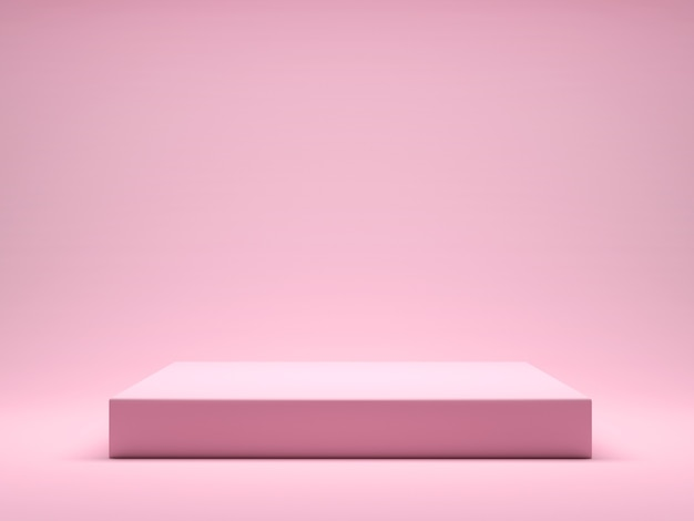 Pink platform for product display interior podium place. promote products design on pink pastel background. 3d rendering