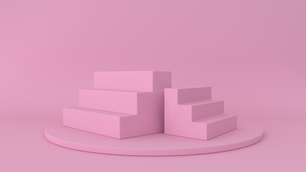 Pink platform and steps isolated