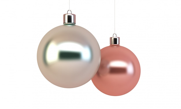 Pink and pleated christmas balls isolated