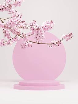 제품 프레젠테이션3d 렌더링을 위한 흰색 배경이 있는 분홍색 연단과 벚꽃