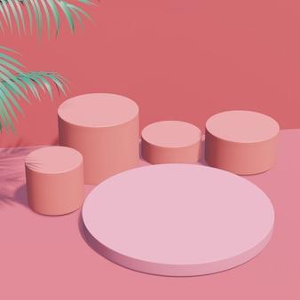 분홍색 연단과 녹색 박하 열대 식물, 장소 제품을위한 전시