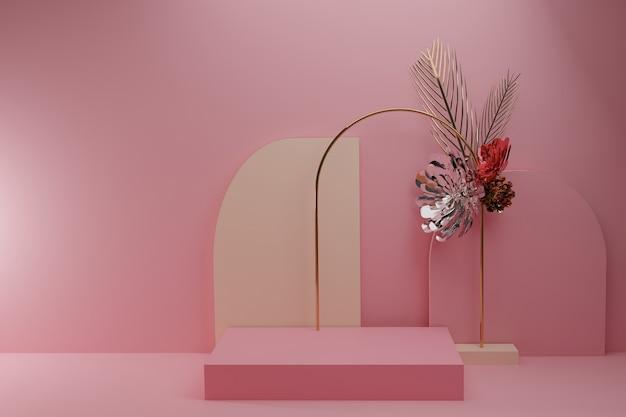 金属の花とピンクの表彰台の背景。