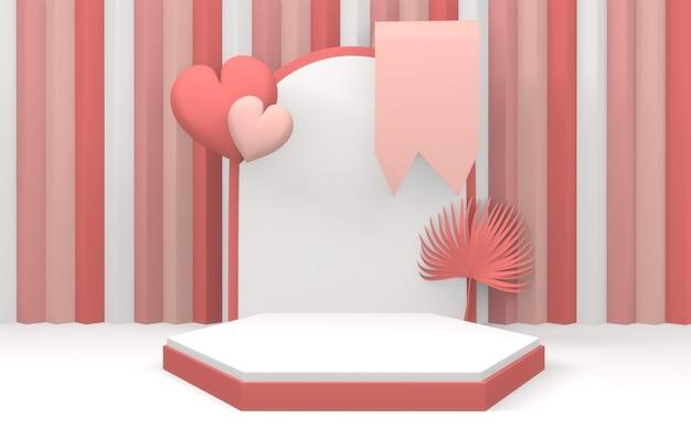 핑크 연단은 최소한의 디자인 제품 장면을 표시합니다. 3d 렌더링