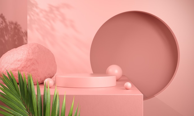 Pink podium display with palm leaves