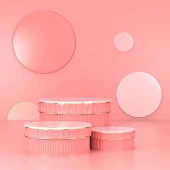 Pink podium minimal. pink wall scene. pastel. 3d rendering.
