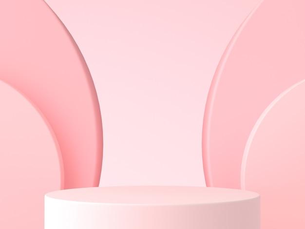 최소 핑크 연단. 핑크 벽 장면. 파스텔 배경. 3d 렌더링.
