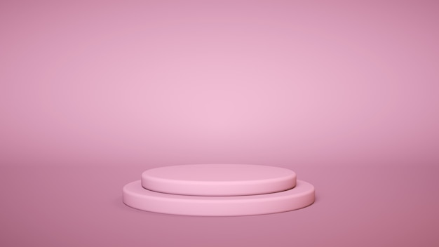Pink podium on pink background. product display stand. insert your product. 3d rendering.
