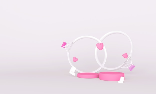 Pink podium and ring for product placement on valentines day
